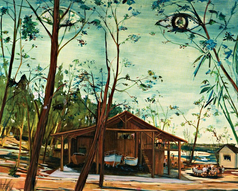 painting of boathouse